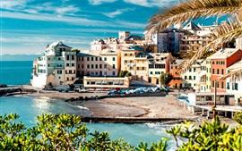 Италия, Cinque Terre, берег, море, дома, деревья, док, лодка