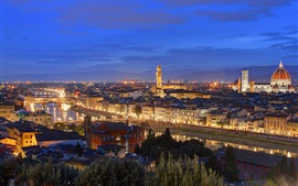 Preview wallpaper Italy, Tuscany, Florence, night, house, evening, dusk, lights