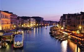 Preview wallpaper Italy, Venice, Canal Grande, evening, dusk, houses, sea, boats, lights