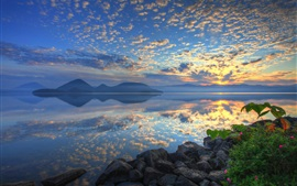 Preview wallpaper Lake Toya, Hokkaido, Japan, sunrise, clouds