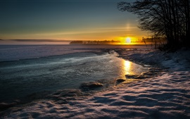 Preview wallpaper Lake, nature landscape, winter, snow, water, evening, sunset