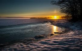 Lago, paisagem, inverno, neve, água, noite, pôr do sol