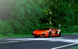 Preview wallpaper Lamborghini Aventador LP700-4 orange supercar in road