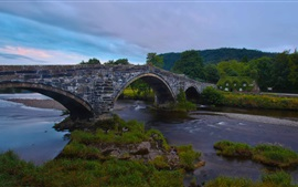 Preview wallpaper Llanrwst Bridge, Wales, England, River Conwy, house, dusk
