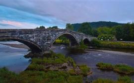 Llanrwst Bridge, Wales, England, River Conwy, house, dusk