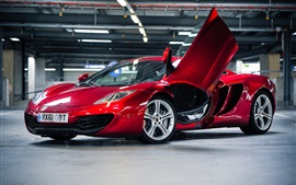 McLaren MP4-12C red car, parking, lighting