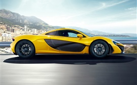 Preview wallpaper McLaren P1 yellow car side view