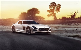 Mercedes-Benz SLS white car in the morning