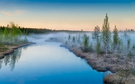 Preview wallpaper Mist rising, sunrise, river, trees