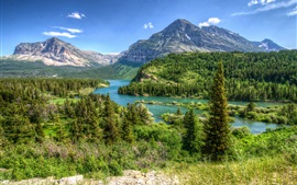 Montana, EE.UU., parque, árboles, montañas, ríos, nubes
