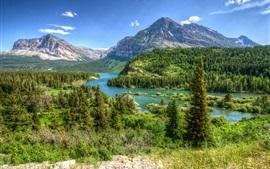Монтана, США, парк, деревья, горы, река, облака