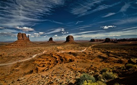 Preview wallpaper Monument Valley, USA, sky, clouds, desert