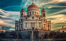 Preview wallpaper Moscow, Russia, Cathedral, sunset, sky, clouds