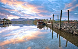 Preview wallpaper Nature landscape, morning, boats, lake, sky, clouds, autumn