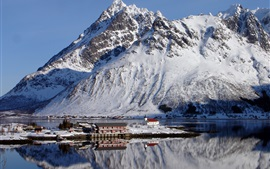 Preview wallpaper Norway, Lofoten, mountains, snow, winter, bay, house