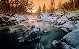 Norway, forest, trees, river, snow, ice, winter, sunset