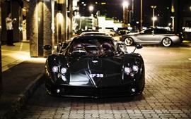 Pagani Zonda F black supercar front view, city, street, night