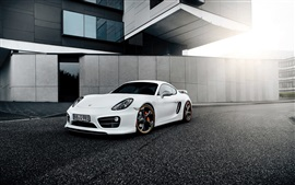 Porsche Cayman vista frontal supercar blanco