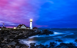 Preview wallpaper Portland lighthouse, houses, coast, sea, dusk, blue