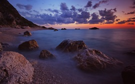 Sea, evening, waves, beach, stones, clouds, horizon, sunset