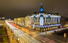Preview wallpaper St. Petersburg, Russia, night, lights, houses, buildings, street