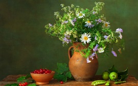 Preview wallpaper Still life, berries, peas, apples, flowers
