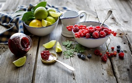 Preview wallpaper Still life close-up, raspberries, blueberries, red berries, lemon, lime