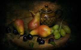 Preview wallpaper Still life, pears, cherries, grapes, tea