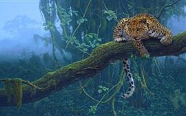 Тропические животные, ягуар, хищник, дерево