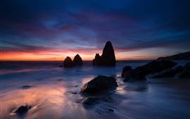 EUA, Califórnia, oceano, costa, pedras, noite, pôr do sol