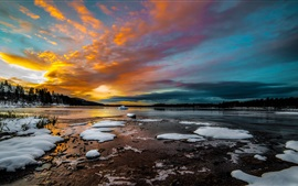 Winter, lake, snow, ice, morning, clouds, sunrise