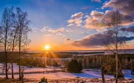 Preview wallpaper Winter, village, forest, road, trees, sunset