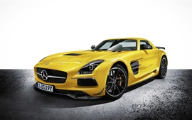Preview wallpaper 2014 Mercedes-Benz SLS yellow car