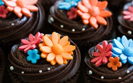 Preview wallpaper Art cake, chocolate, cream, flowers, sweet, dessert
