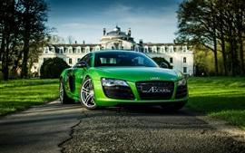 Audi R8 зеленый суперкар вид спереди
