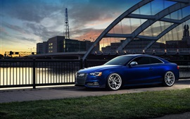 Preview wallpaper Audi S5 blue car in city