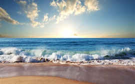 Preview wallpaper Beach, sand, blue sea, waves, clouds, sun