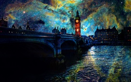 Preview wallpaper Beautiful art pictures, stars, night, London, bridge, river, lights