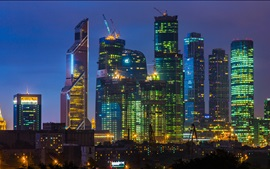 Preview wallpaper Beautiful city night, Moscow, skyscraper, lights