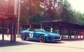 Синий Jaguar Project 7 Concept хороший автомобиль