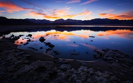 Preview wallpaper California, lake, mountains, clouds, water reflection, dusk