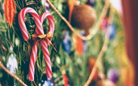 Preview wallpaper Christmas, new year, candy, bokeh