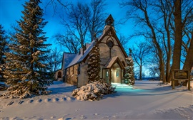 Church, winter, snow, trees, night