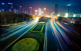 Preview wallpaper City night, lights, street, buildings, blur