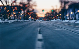 City, street, bokeh, winter, road, lights