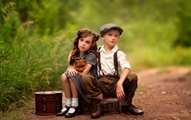 Preview wallpaper Cute child, girl, boy, dog, suitcases, waiting