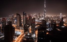 Дубай, город, ночь, небоскребы, огни, дороги