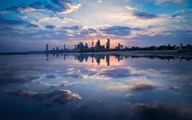 Сумерки, Эль-Кувейт, здания, море, облака