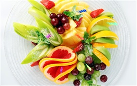 Preview wallpaper Fruit salad, strawberry, pineapple, kiwi, lemon, apple, grapes