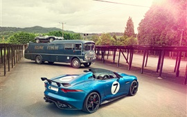 Preview wallpaper Jaguar Project 7 Concept blue car, Jaguar D-Type 1954